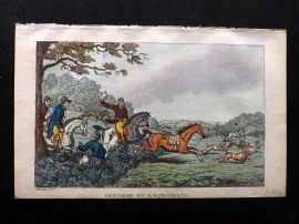 Rowlandson Johnny Newcome 1823 HCol Naval Satire Print. Newcome at a Fox Charge
